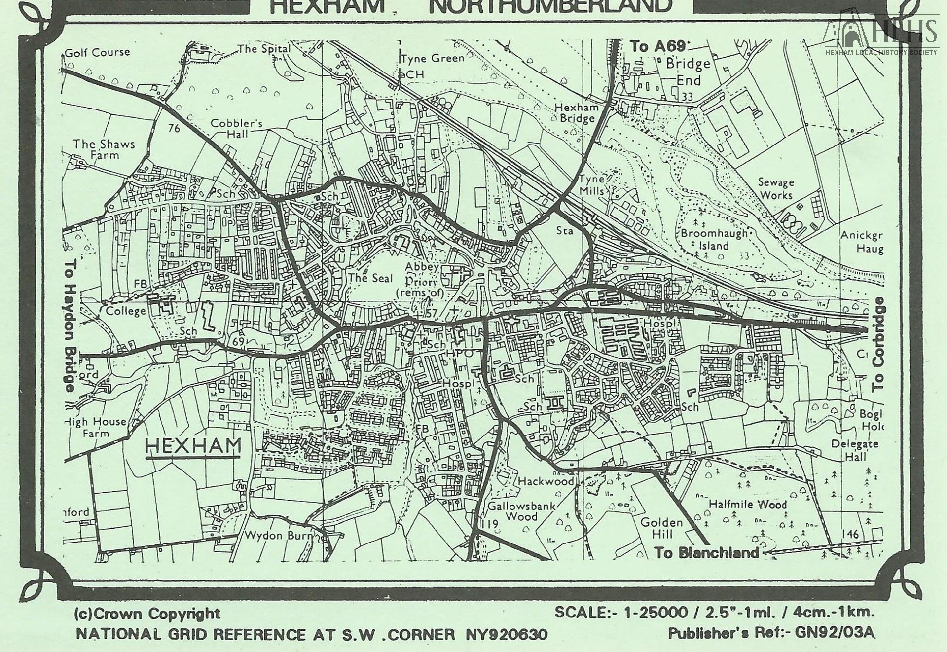 1992: Hexham, Northumberland. Ordnance Survey of town map, 1:25,000 scale, with main roads overprinted