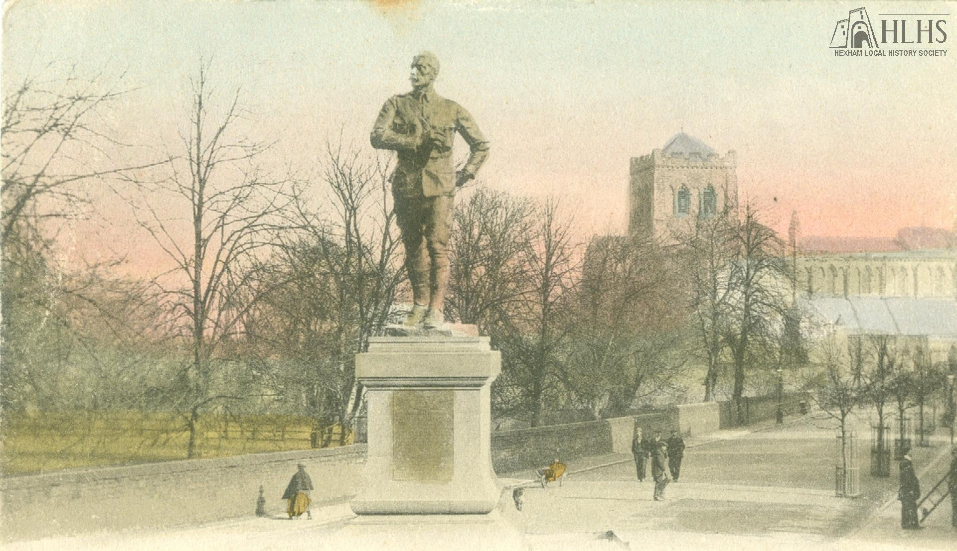 1905: Benson Monument, Hexham. Tinted; looking N