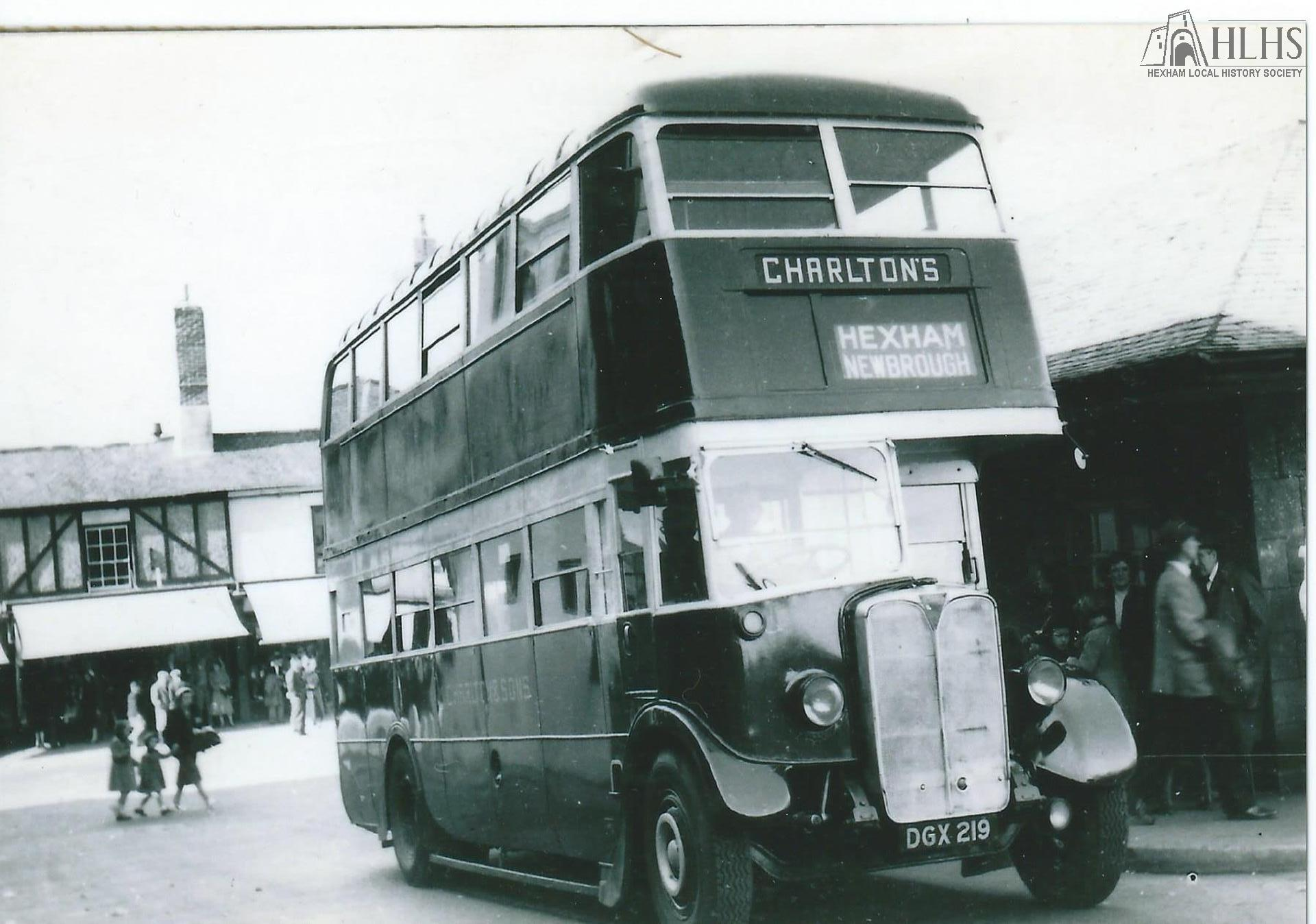 c1960: Bus station in Commercial Place (off Priestpopple) looking N, Charlton's AEC ex-London Transport bus