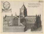 1661: The Northern Prospect of the Conuentald Church of Hextildenham, by Thomas Widdrington. Earliest known image of the Abbey but inaccurate and fanciful, e.g. the tower is out of proportion, and the eastern chapels are (mis)represented as a featureless shed. It's the only representation of the perpendicular style E window which was replaced around 1680 by the 'churchwarden gothic window'